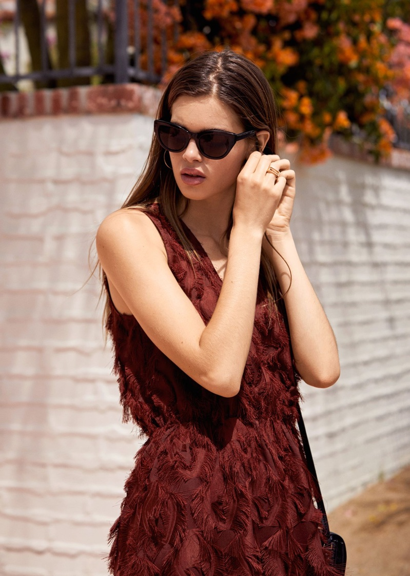 & Other Stories Fringe Mini Dress and Glossy Hoop Earrings