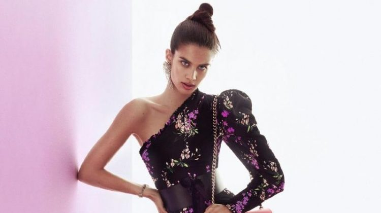 Sara Sampaio models an embroidered gown in Pinko's fall-winter 2017 campaign