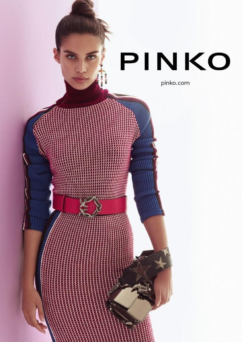 Model Sara Sampaio is the face of Pinko's fall-winter 2017 campaign