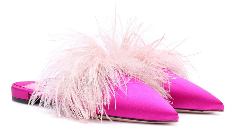 Prada Feather Trimmed Satin Slippers $620