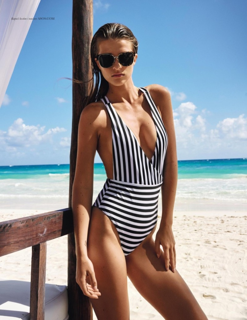 Regitze Christensen Models Chic Summer Swimsuits for ELLE Croatia