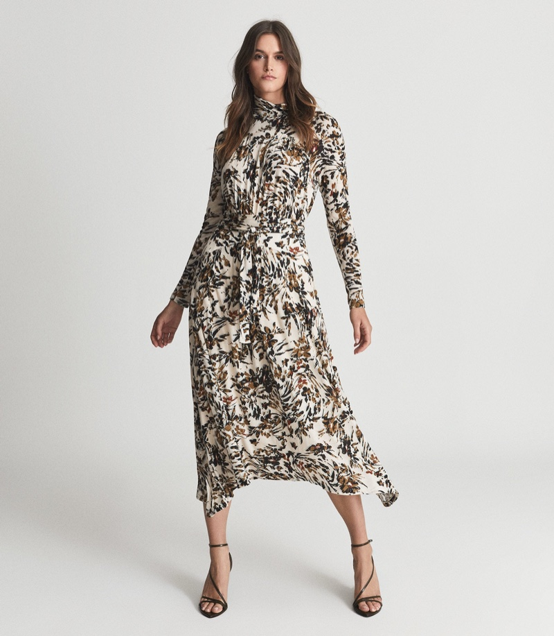 Reiss Bobby Floral Print Midi Dress $345
