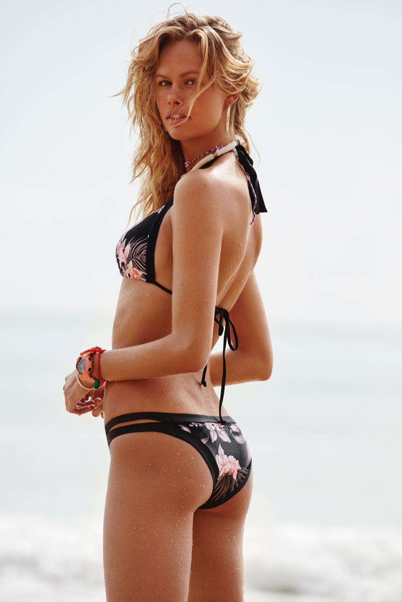 Emma Stern Nielsen poses in Seafolly Pacifico Slide bikini top and Brazilian bikini bottoms