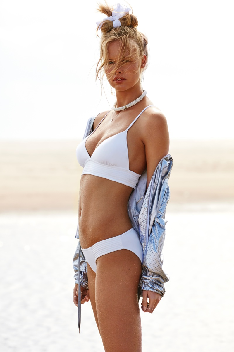 Emma Stern Nielsen models a white bikini from Seafolly