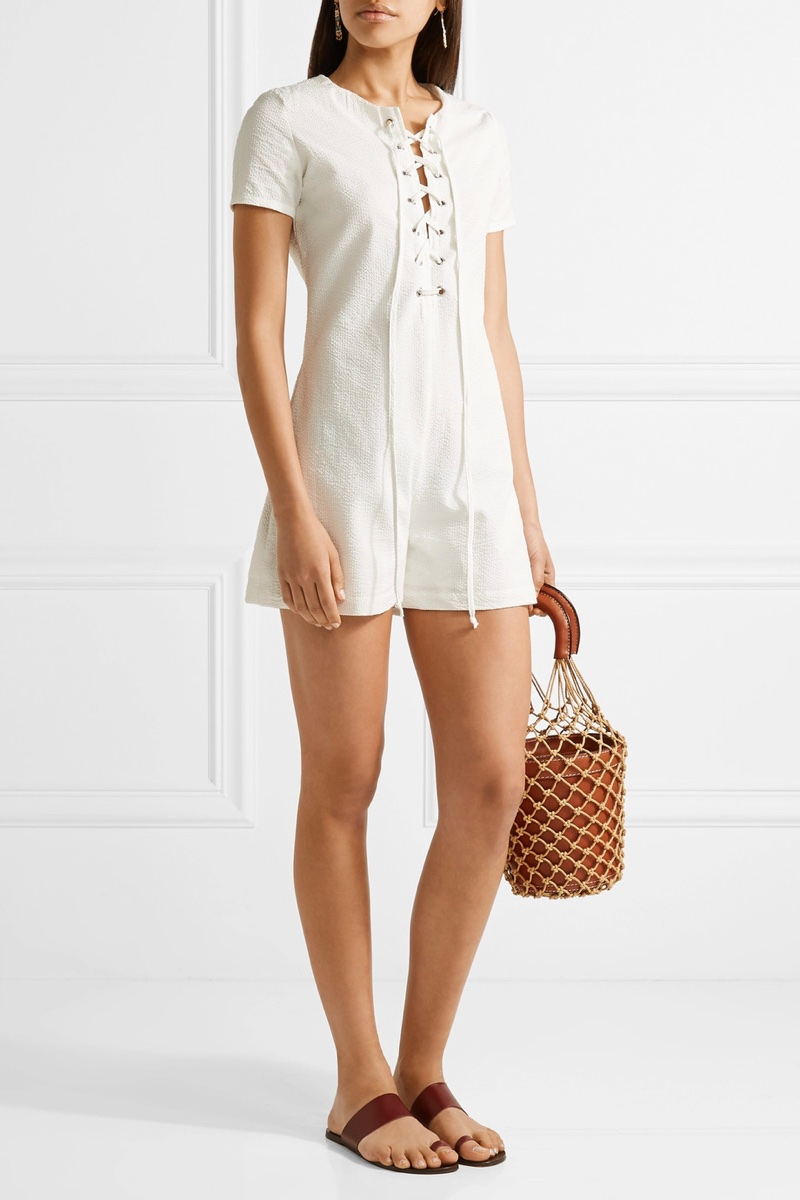 Solid & Striped x STAUD Arabella Lace-Up Cotton-Seersucker Playsuit $170