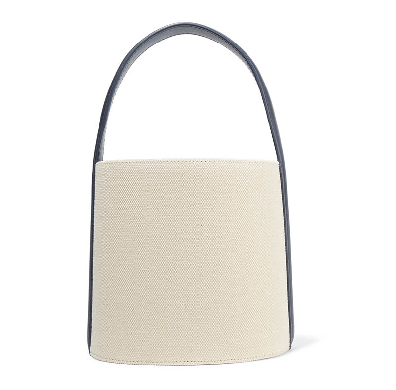 Solid & Striped x STAUD Leather-Trimmed Cotton-Canvas Bucket Bag $285