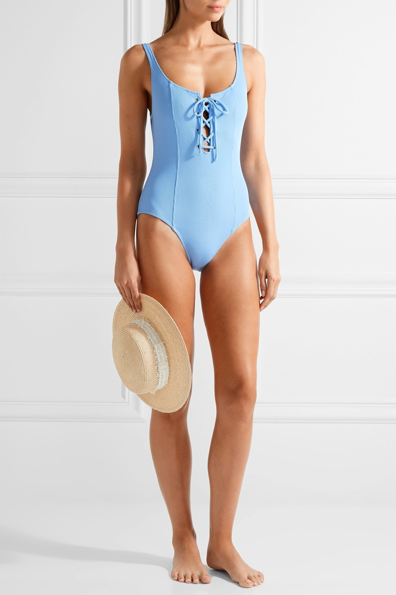 Solid & Striped x STAUD Sophia Lace-Up Ribbed Swimsuit $170