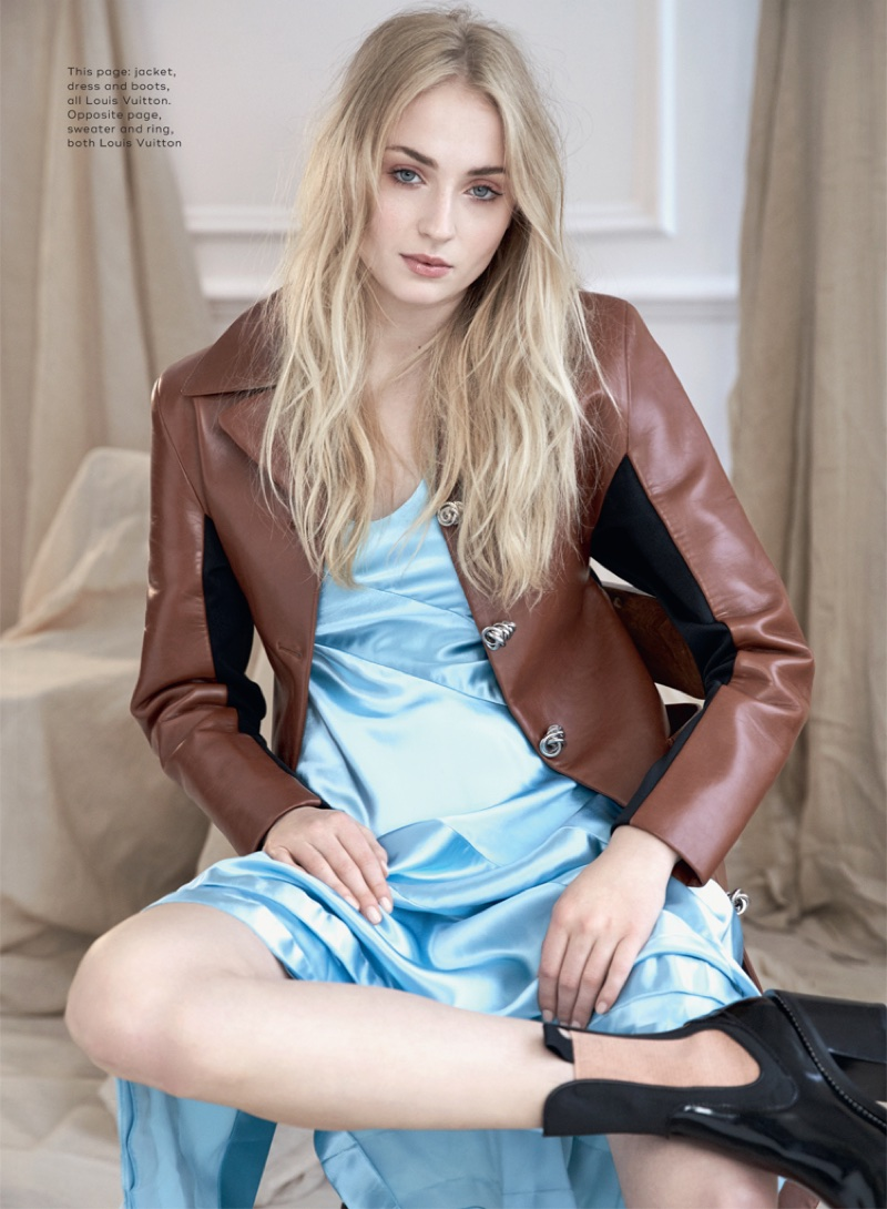 Sophie Turner models Louis Vuitton jacket, dress and boots