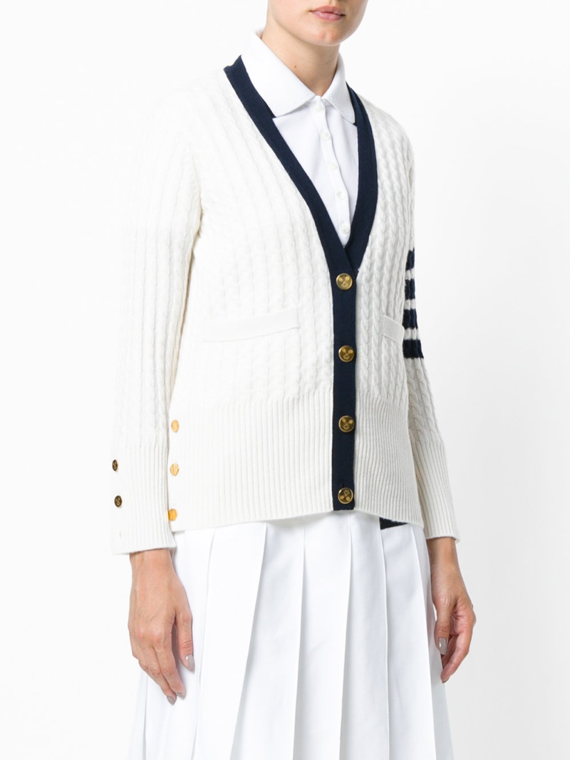 Thom Browne Tennis Collection Baby Cable V-Neck Cardigan $1,790