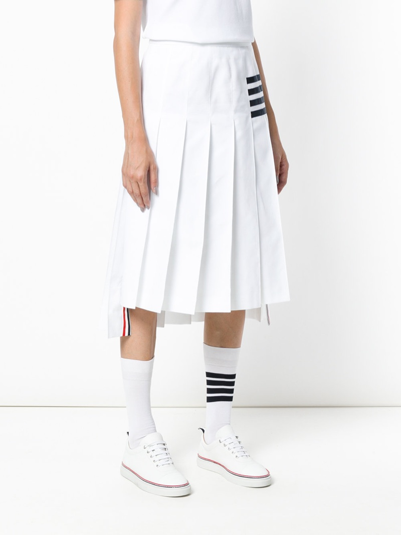 Thom Browne Tennis Collection Bar Stripe Pleated Skirt $900
