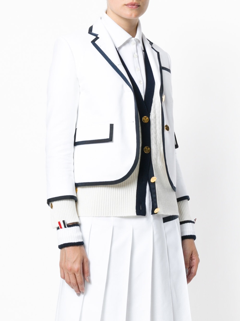 Thom Browne Tennis Collection Pique Striped Sport Coat $1,750