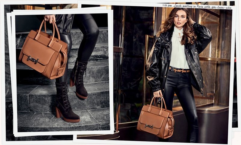 Model Andreea Diaconu looks cool in leather for Tod's fall-winter 2017 campaign