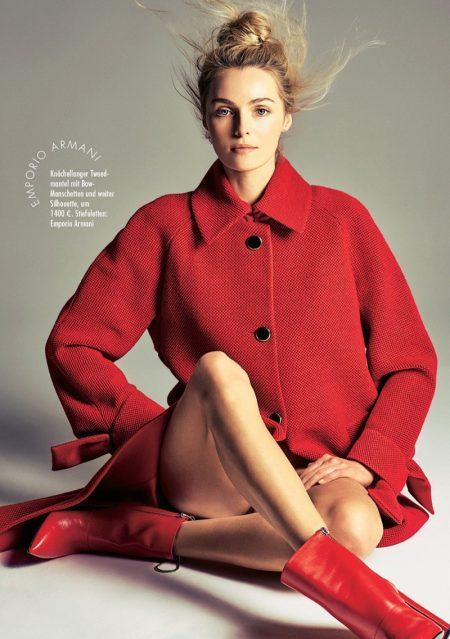 Valentina Zelyaeva Takes On All-Red Fashion in ELLE Germany