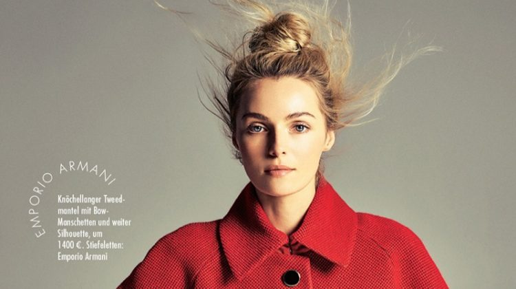 Valentina Zelyaeva Takes On All-Red Fashion in ELLE Germany
