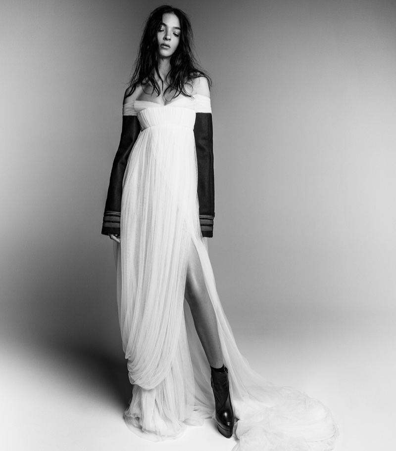 Mariacarla Boscono poses in white gown for Vera Wang's fall-winter 2017 campaign