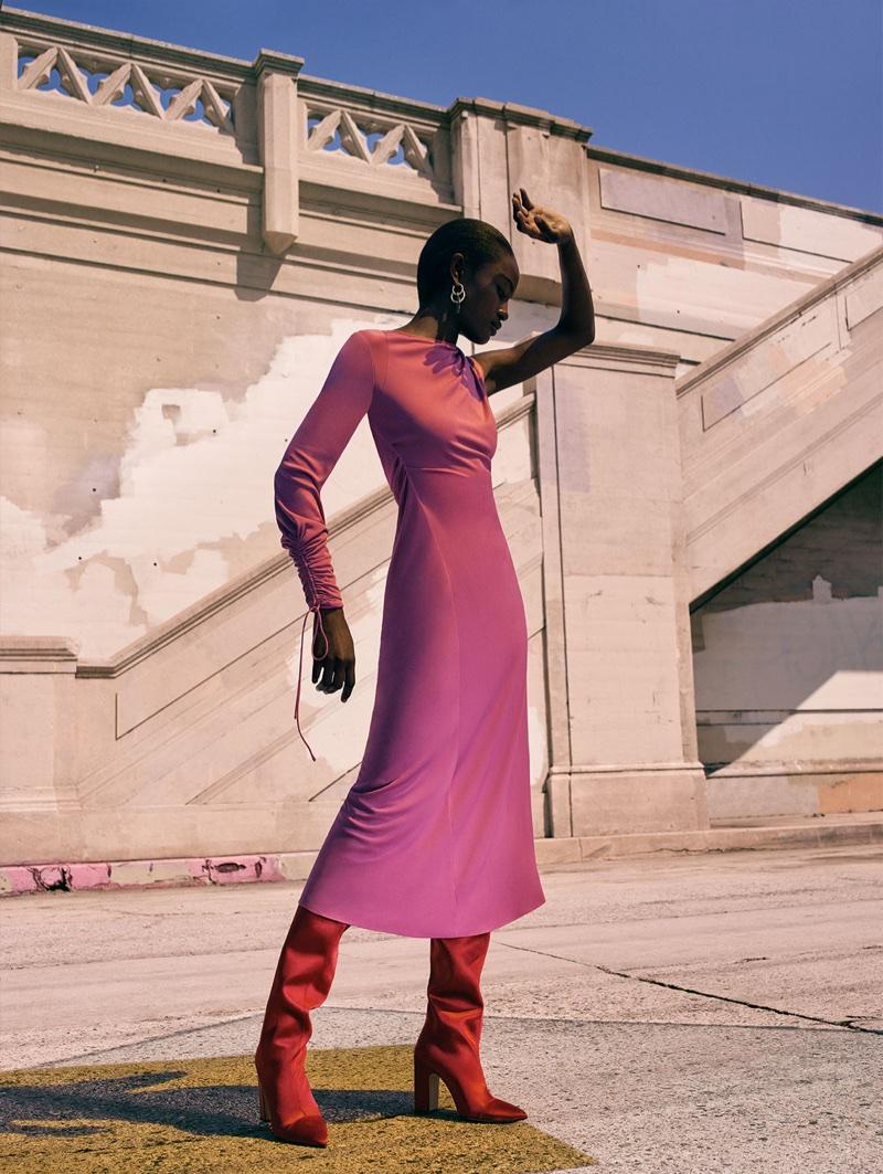 Zara Gathered Dress with Asymmetric Sleeves, Sateen High Heel Boots and Circular Earrings