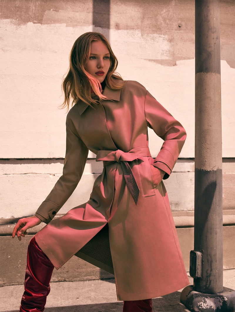 Zara Tan Trench Coat and Pantent Leather High Heel Boots
