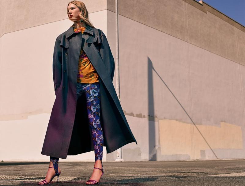 Zara Coat, Gathered Printed Top, Printed Leggings, Satin High Heel Sandals and Floral Earrings