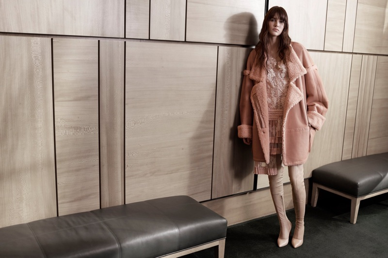 Looking pretty in pink, Vanessa Moody wears Zimmermann Folly Dizzy dress and Maples Riot coat
