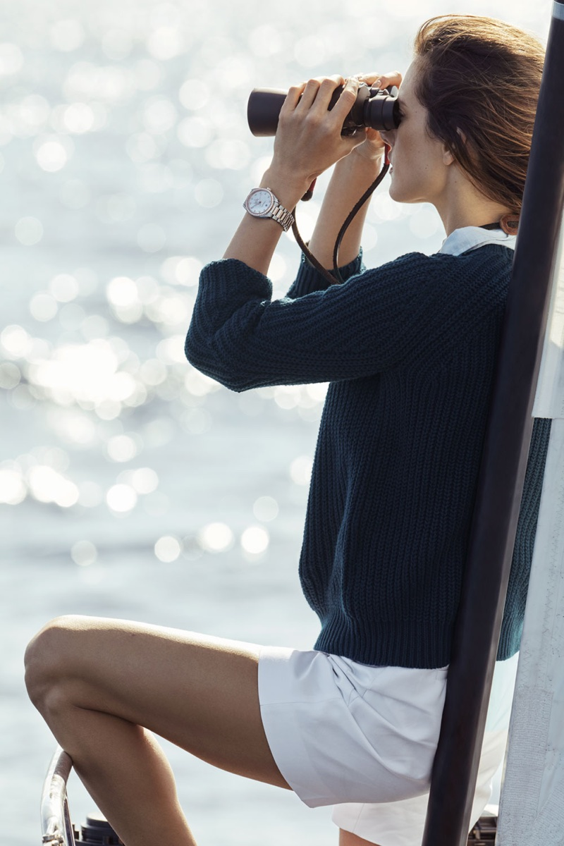 An image from OMEGA's Aqua Terra advertising campaign starring Alessandra Ambrosio