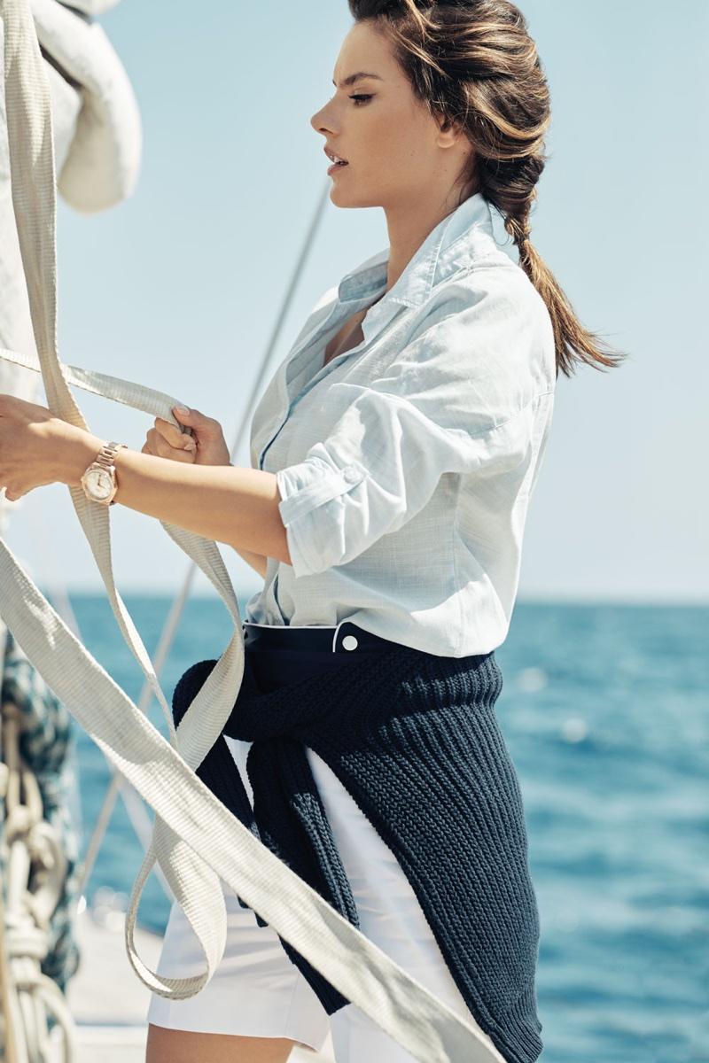 Alessandra Ambrosio poses at sea for OMEGA Aqua Terra campaign