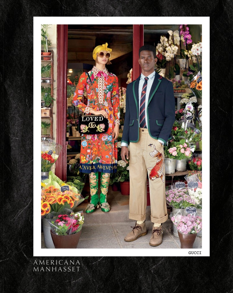 Birgit Kos and Salomon Diaz model Gucci in Americana Manhasset's fall-winter 2017 campaign