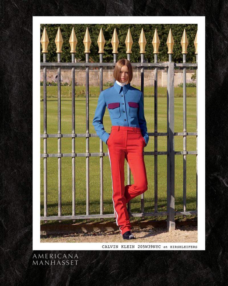 Birgit Kos poses in Calvin Klein for Americana Manhasset's fall-winter 2017 campaign