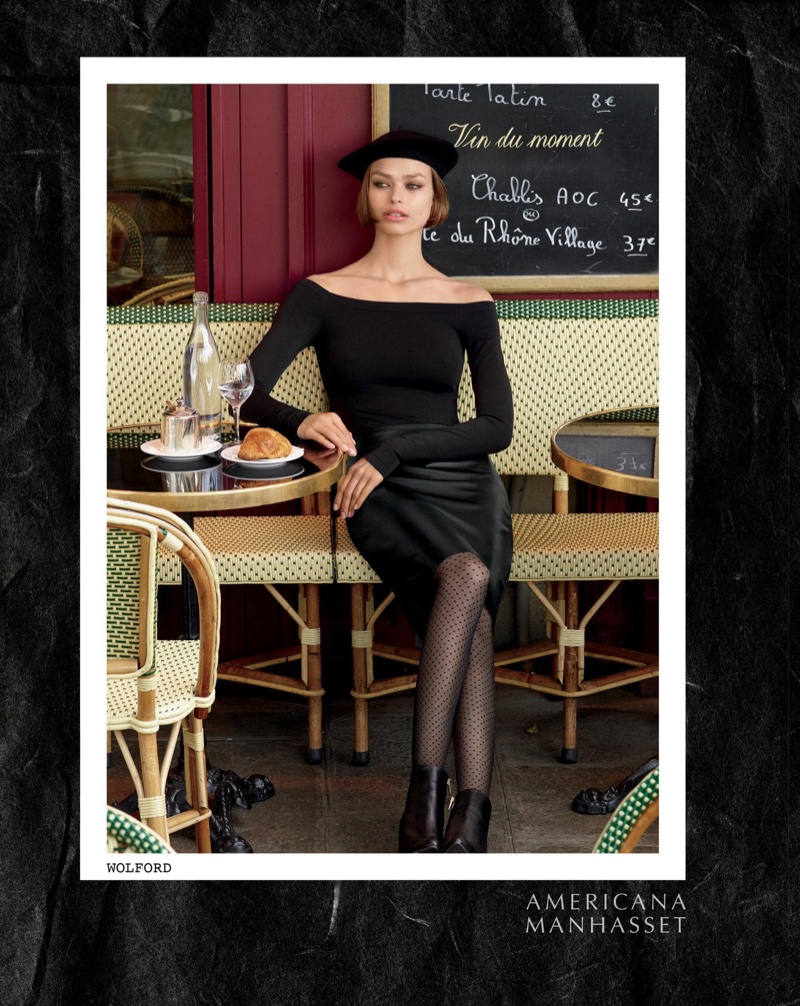 Birgit Kos looks Parisian chic in Wolford for Americana Manhasset's fall-winter 2017 campaign
