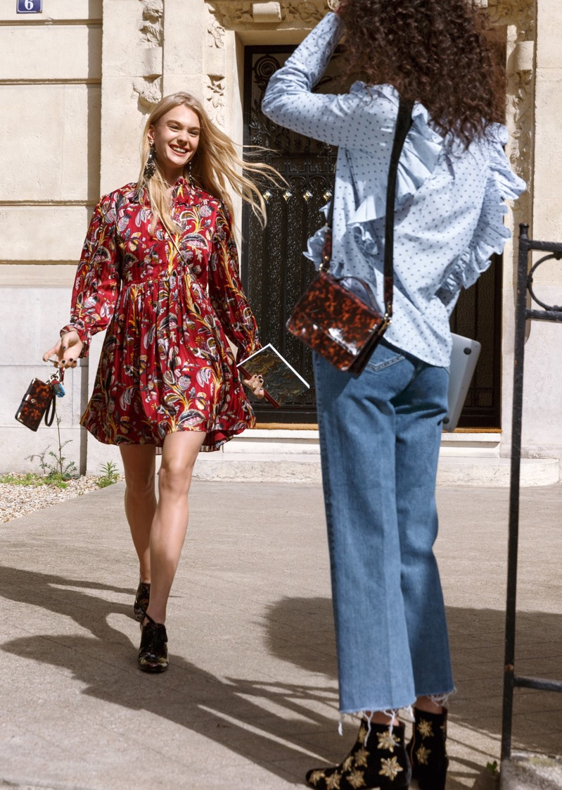 (Left) & Other Stories Climbing Flower Mini Dress (Right) & Other Stories Frills Button Down Blouse, Cropped Flared Denim Jeans, Sequin Suede Boots and Patent Leather Tortoise Shell Mini Bag