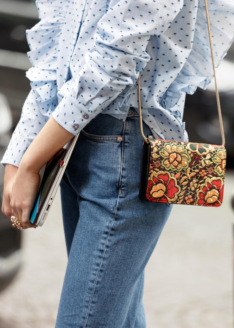 & Other Stories Frills Button Down Blouse, Cropped Flared Denim Jeans and Bloom Leather Minibag