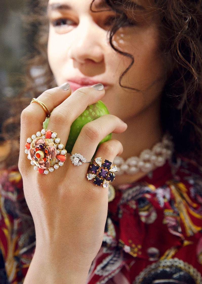 & Other Stories Climbing Flower Mini Dress, Pearl Choker, Crystal Ring, Glass Crystal Ring and Decorated Pearl Ring