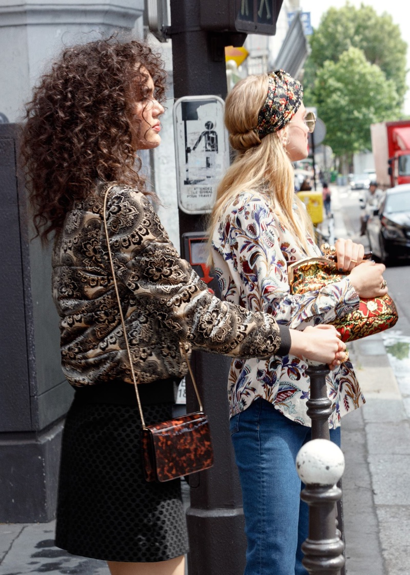 (Left) & Other Stories Floral Velvet Jacket, Button-Down Mini Skirt and Tortoise Leather Minibag (Right) & Other Stories Climbing Floral Shirt, Straight Denim Jeans and Bloom Jacquard Clutch