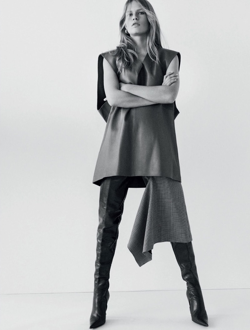 Anna Ewers Models Minimal Looks for Vogue Brazil Cover Story