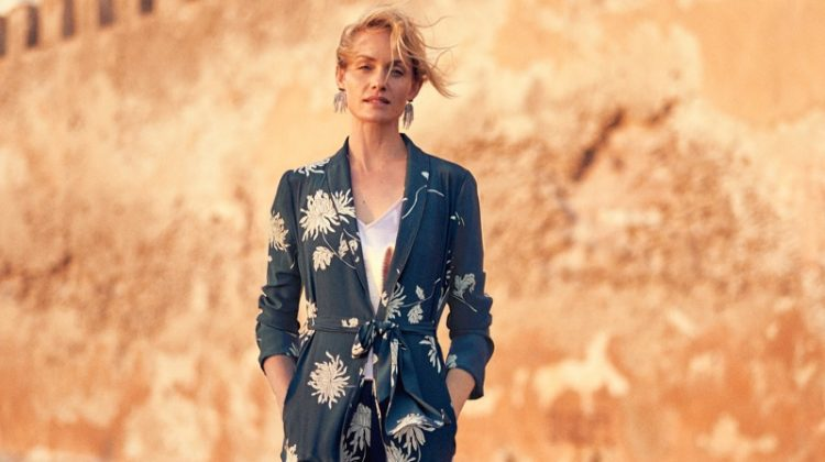 Amber Valletta suits up in Anthropologie's September 2017 catalog