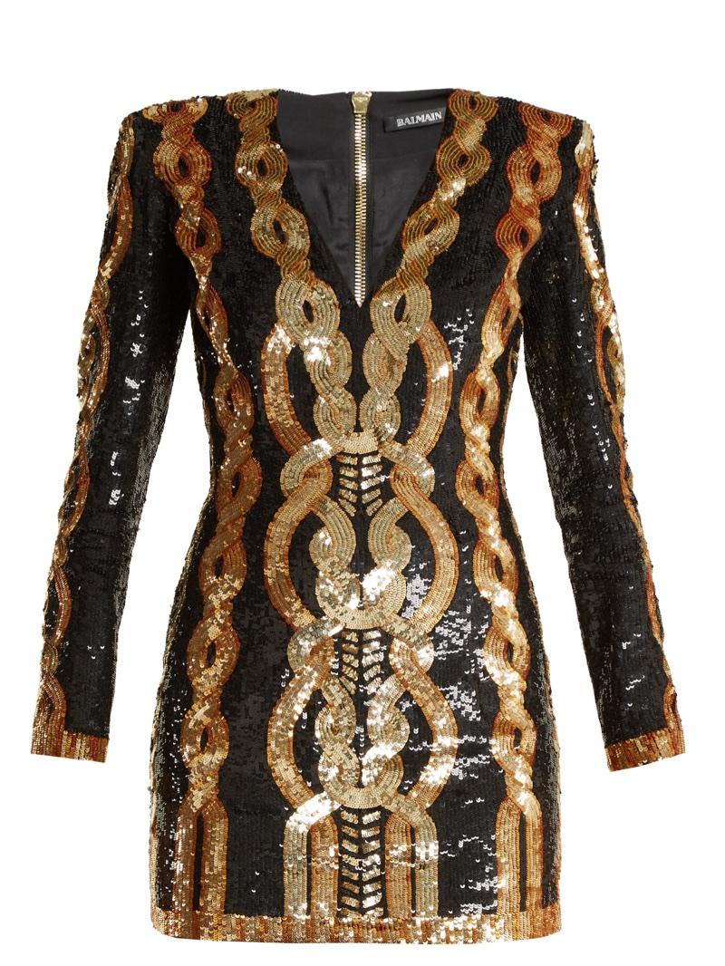 Balmain V-Neck Sequin-Embellished Mini Dress $4,422