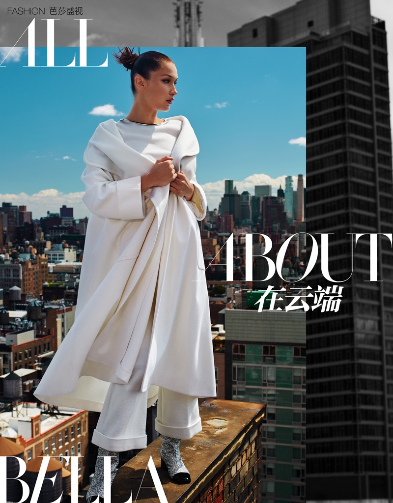 Bella Hadid Poses in Sky High Fashions for Harper's Bazaar China