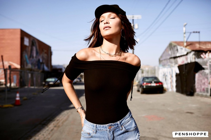 Model Bella Hadid poses in an off-the-shoulder top for Penshoppe campaign