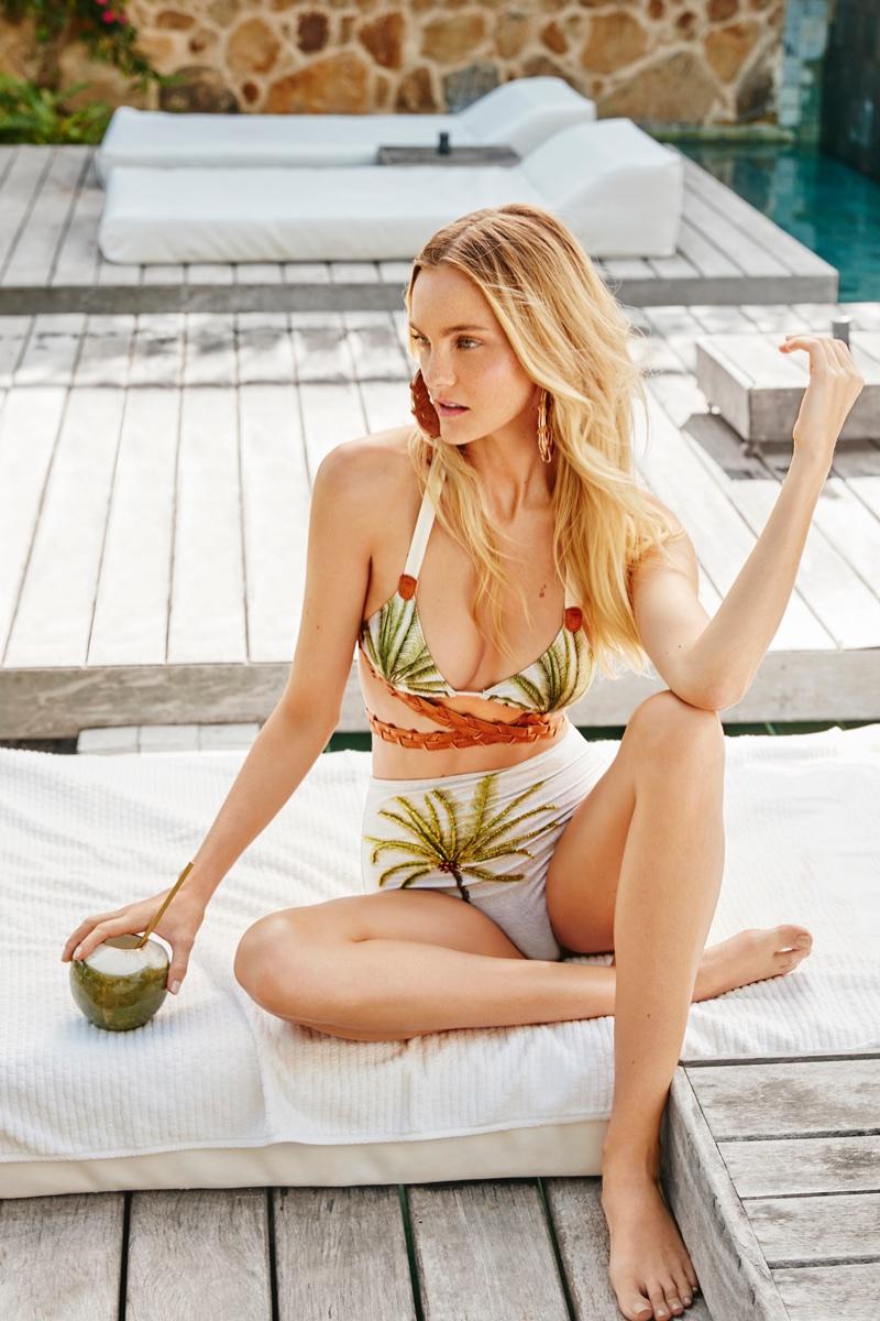 Model Caroline Trentini poses in tropical prints for Agua de Coco's spring-summer 2018 campaign