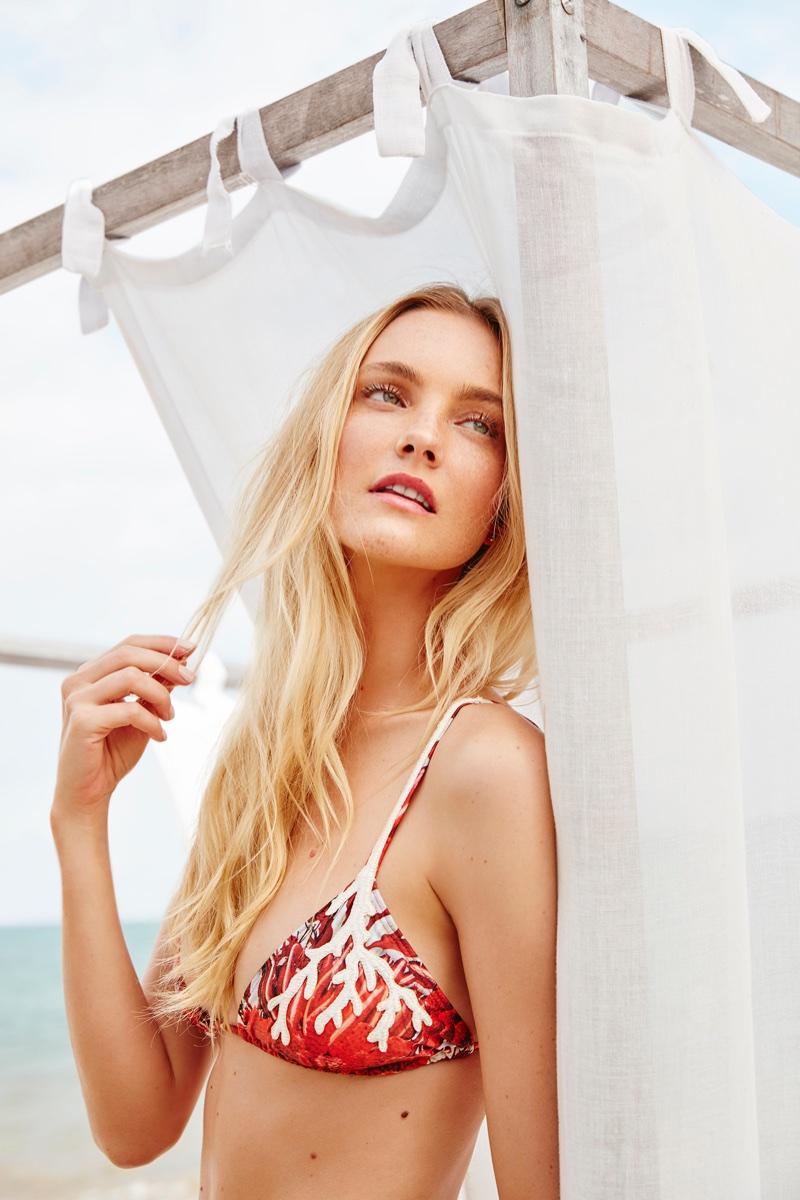 Model Caroline Trentini wears printed bikini top in Agua de Coco's spring-summer 2018 campaign