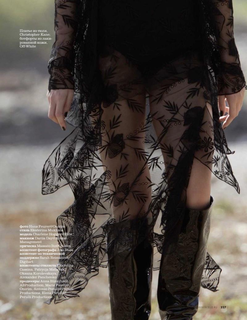 Charlene Högger Poses in Romantic Dresses for ELLE Russia