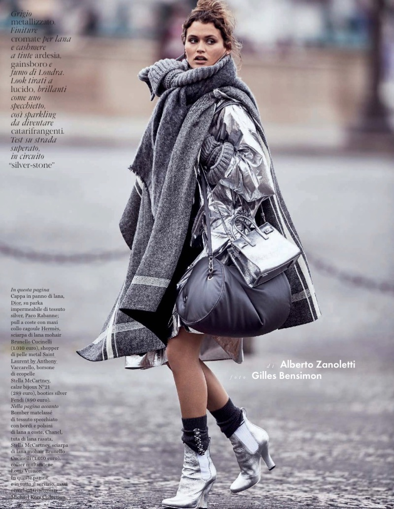 Chloe Lecareux Layers Up in Grey Fashions for ELLE Italy