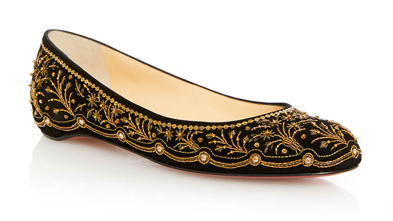 Christian Louboutin Embroidered Ballerina Flat in Gold $2,995