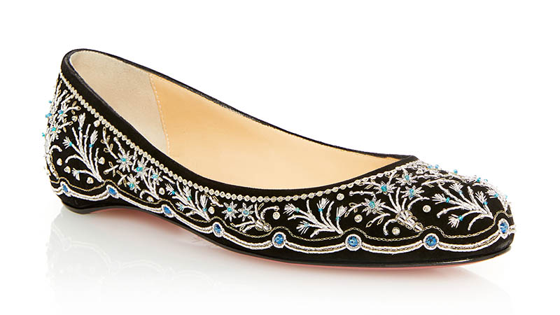 Christian Louboutin Embroidered Ballerina Flat in Silver $2,995