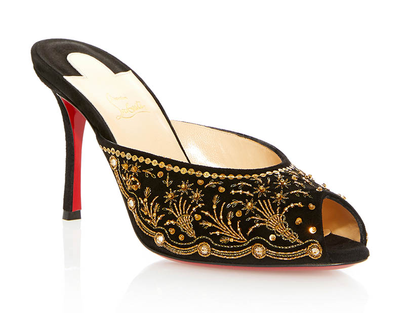 Christian Louboutin Embroidered Mule in Gold $2,770