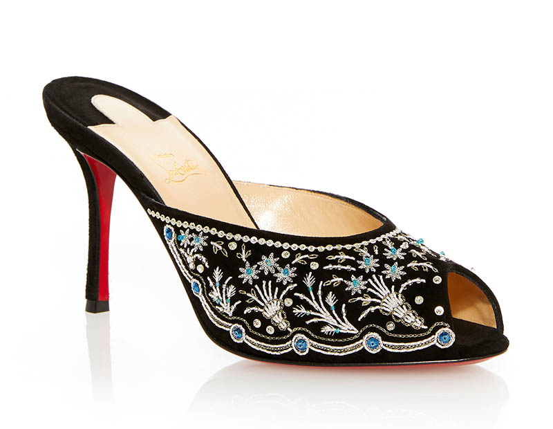Christian Louboutin Embroidered Mule in Silver $2,770