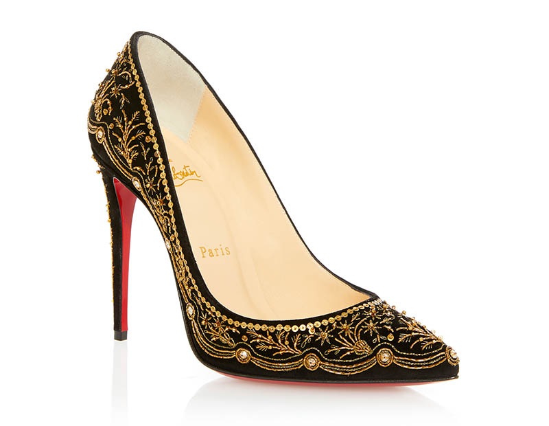 Christian Louboutin Embroidered Pigalle Pump in Gold $3,335