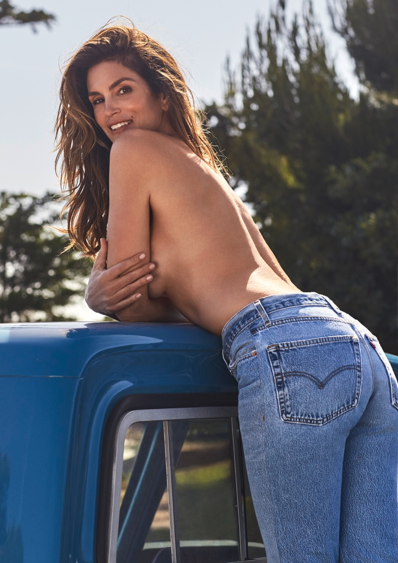 Re/Done features this image of Cindy Crawford in a new capsule collection. Photo: Marco Glaviano