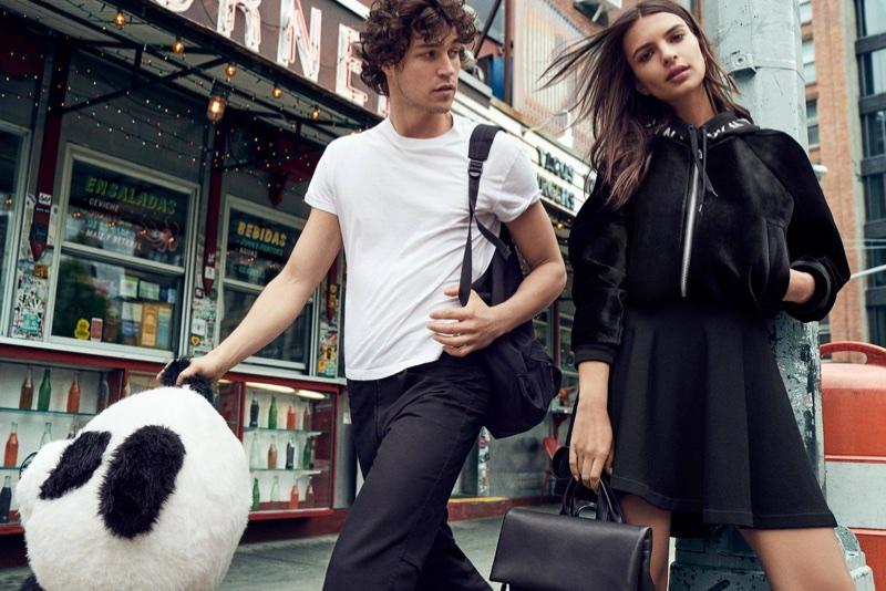 Model Emily Ratajkowski poses in New York City for DKNY's fall-winter 2017 campaign