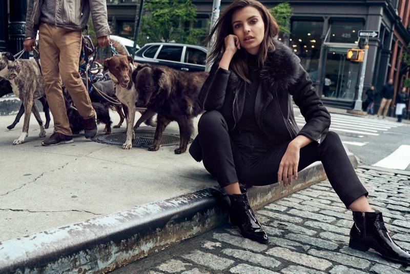 Emily Ratajkowski wears black on black for DKNY's fall-winter 2017 campaign