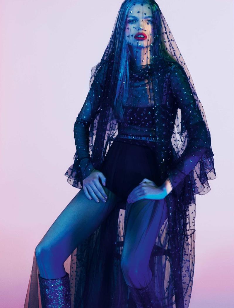 Daphne Groeneveld Models Evening Looks in ELLE Brazil